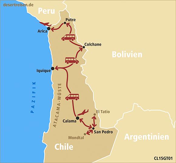 Atacama Wüste Karte.Desert Reisen Reiseprogramm